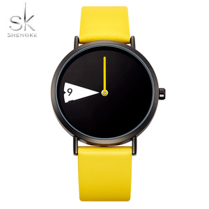 Image 4 - SHENGKE Watch New Yellow Leather Strap Casual Style Women Watches Quartz Ladies Watches Creative Clock Gift relogio feminino