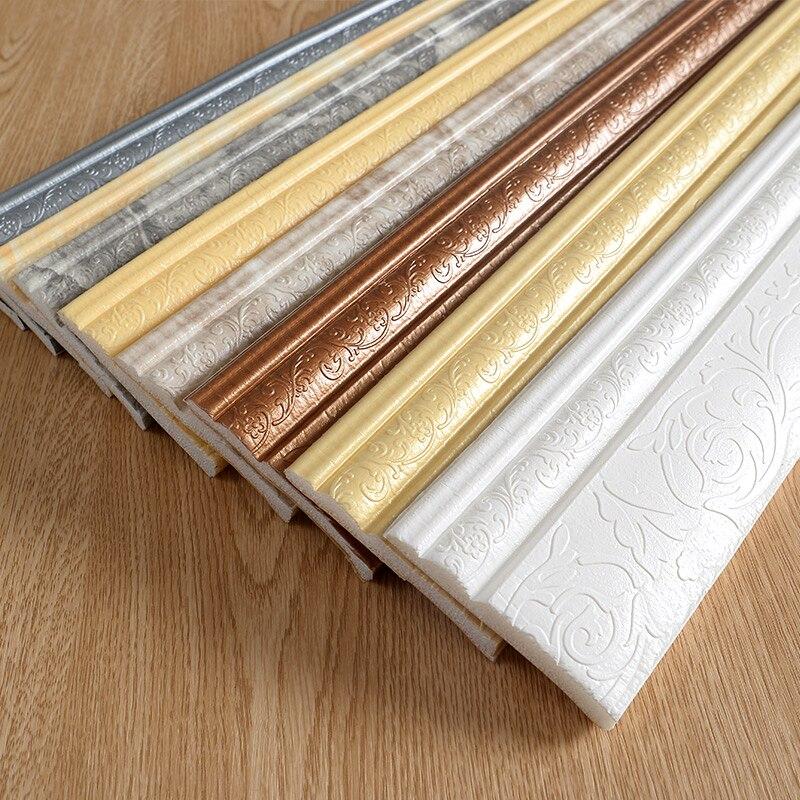Waterdichte Zelfklevende Schuim Plint Muur Sticker 3D Reliëf Taille Floor Hoek Lijn Plint Stickers Behang