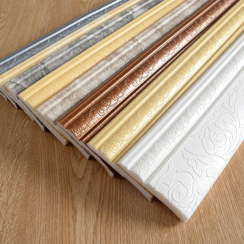 Waterproof Self-adhesive Foam Baseboard Wall Sticker 3D Embossed Waistline Floor Corner Line Skirting Board Stickers Wallpaper