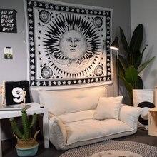 Гобелен в скандинавском стиле, настенный ковер, украшение для дома, черно-белый подвесной тканевый фон, тканевый ковер