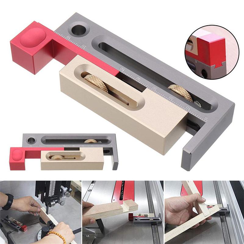 Woodworking Table Saw Gap Slot Regulator  Ruler Make The Mortise And Tenon Movable Measuring Block Length Compensation Tool