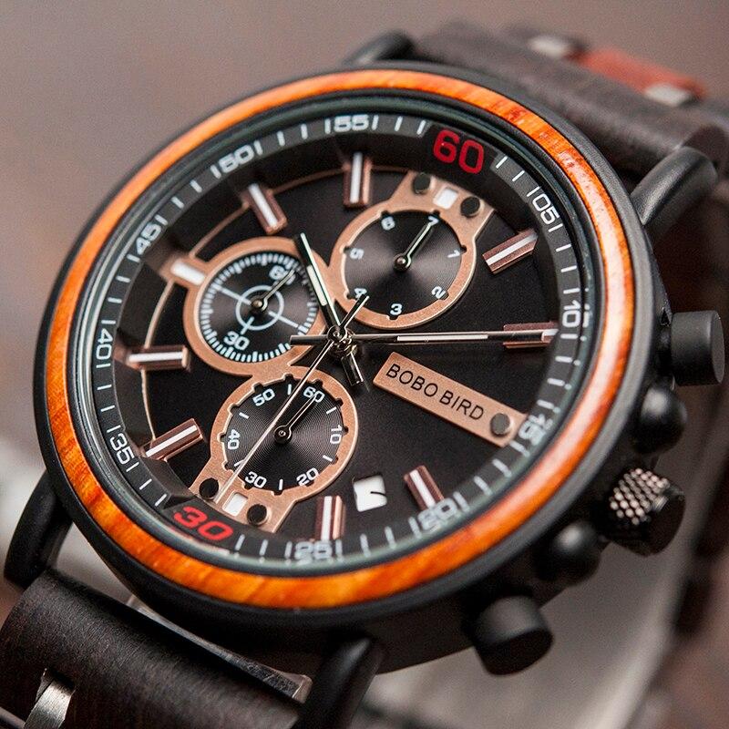 BOBO BIRD Watch Men montre  Wood Watch Men Chronograph Military Watches Luxury Stylish Dropshipping with Wooden Box reloj hombreQuartz Watches   -