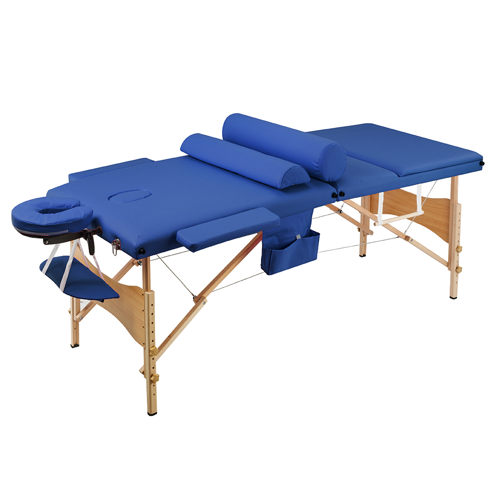 3 Sections Folding Beauty Massage Table Set 70cm Wide Adjustable Height Salon Furniture Wooden
