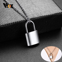 Vnox Trendy Women PadLock Pendant Necklaces Never Fade Solid Silver Tone Stainless Steel Female Best Friendship Gifts(China)
