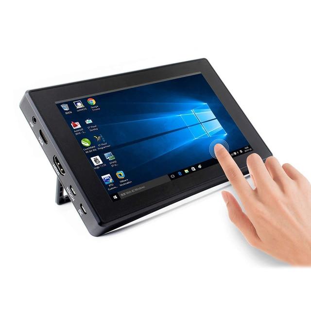 Raspberry Pi 4 Modello B/3B +/3B 7 Pollici di Schermo con Display Lcd Della Cassa Dello Schermo 7 di Visualizzazione Del Monitor 1024X600 Ips Capacitivo Touch Screen