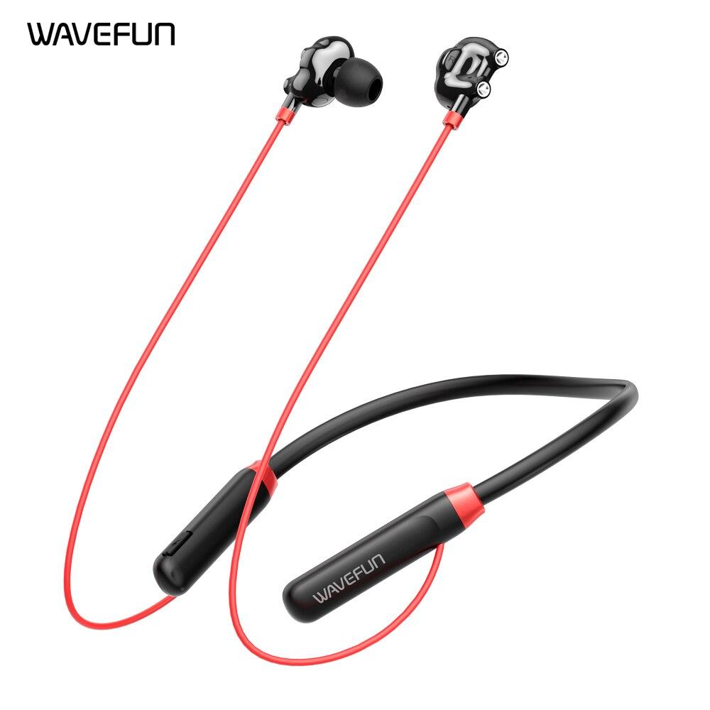 Двойной Динамический драйвер Wavefun Flex U Bluetooth наушники беспроводные наушники с шейным ободом бас плюс 10 часов воспроизведения музыки с микроф...
