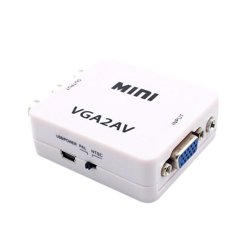 1080P Mini VGA a RCA convertidor AV de 3,5mm con VGA 2AV/CVBS de Audio + Audio para PC HDTV convertidor