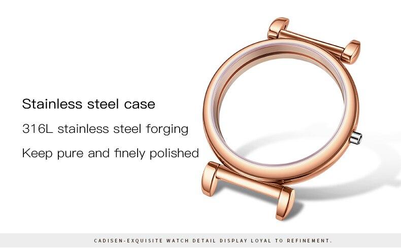 quartzo safira mostrador vidro rosa ouro 18kgold