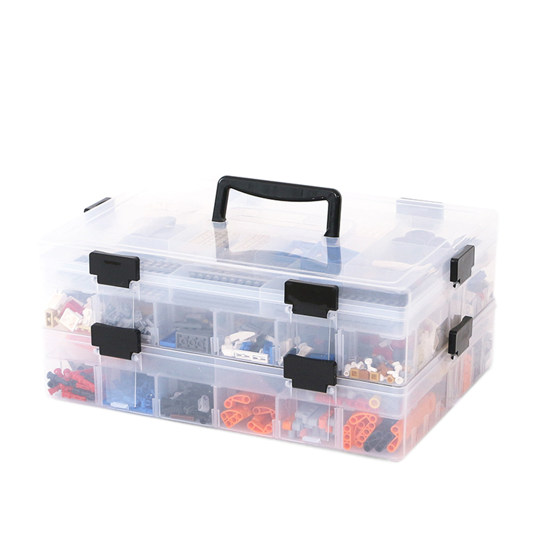 2 Tray Compartment Double-sided Storage Box Practical Fishing Bag Container Hot