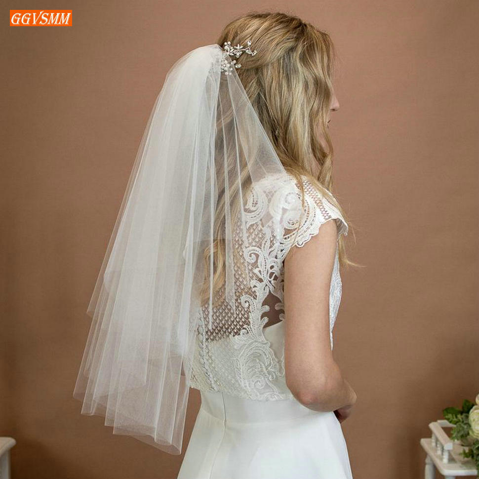 Elegant Purdah Short White Wedding Veil With Comb Yashmac Soft Tulle Two Layer Ivory Bridal Veils Cut Edge Wedding Accessories