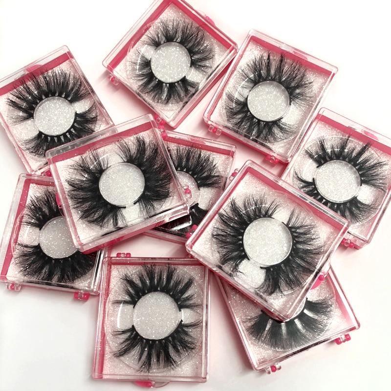 Wholeasle Square Box 25mm False Eye Lashes 100% Handmade Thick False Eyelashes Extension Sexy Natural Soft Mink Eyelashes