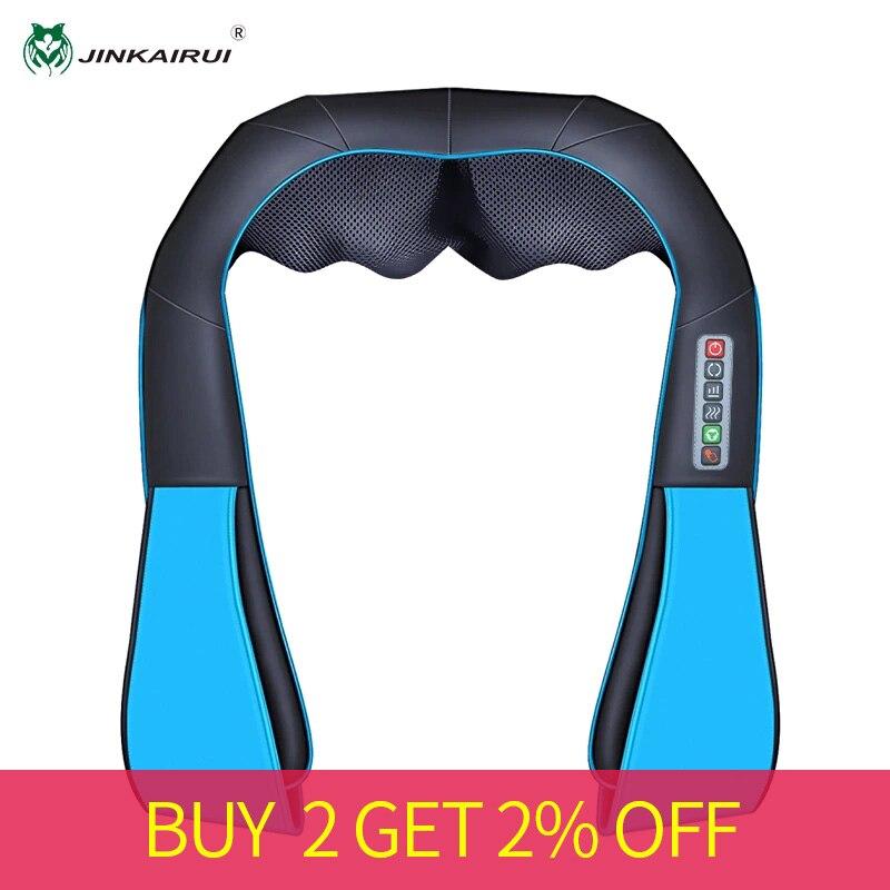 JinKaiRui U Shape Electrical Neck Massager Shawl Roller Heat Massage Electric Pain Neck And Shoulder Multi-function Massagem