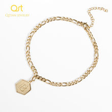 Qitian A-Z Initial Letter Bracelet Anklet for Fashion Nameplate Alphabet stainless steel Jewelry Gifts for Women Men Jewelry(China)