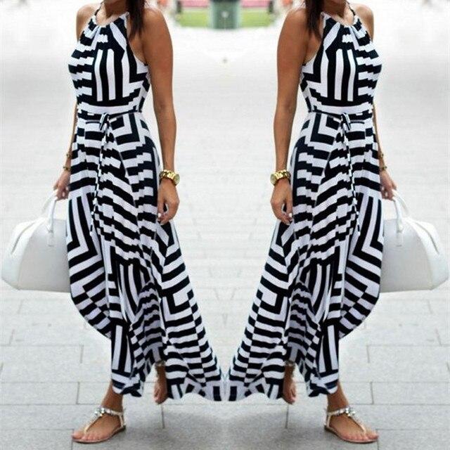 Summer Maxi Long Dress New Fashion Women Sexy Boho Striped Sleeveless Beach Style Strap Sundress Evening Party Beach Sundress 1