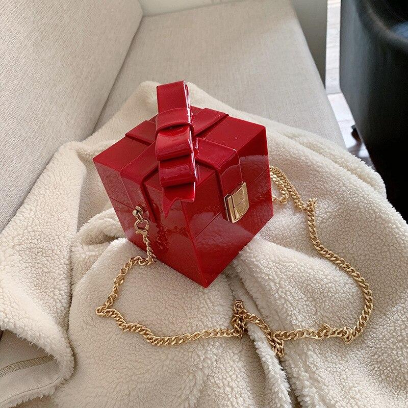 Creative Box Chain Shoulder Bags For Women Fashion Metal Lock Messenger Bag Designer Box Shaped Crossbody Bags Ladies Chic