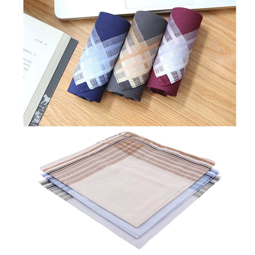 3pcs Mens Pocket Handkerchiefs - 100% Cotton Hanky With Stripe For Business Suit