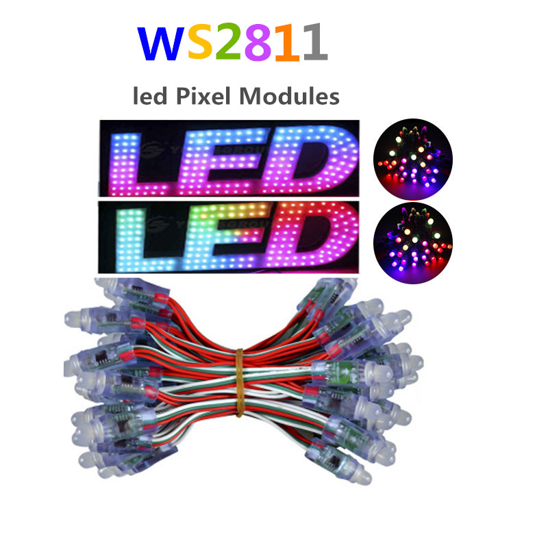 50pcs addressable 12mm WS2811 Full Color LED pixel module 2811 IC DC5V  string IP68 rated RGB Digital  christmas Light