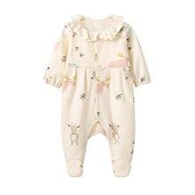 Pureborn recém-nascido footed macacão unisex pijamas do bebê para o bebê meninos meninas algodão impresso bebê footies primavera outono roupas de bebê