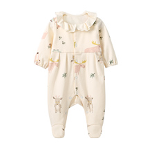 Pureborn Newborn Pajamas Baby Footies Footed Jumpsuit for Baby Boys Girls Cotton Cartoon Solid Spring Autumn Baby Clothes