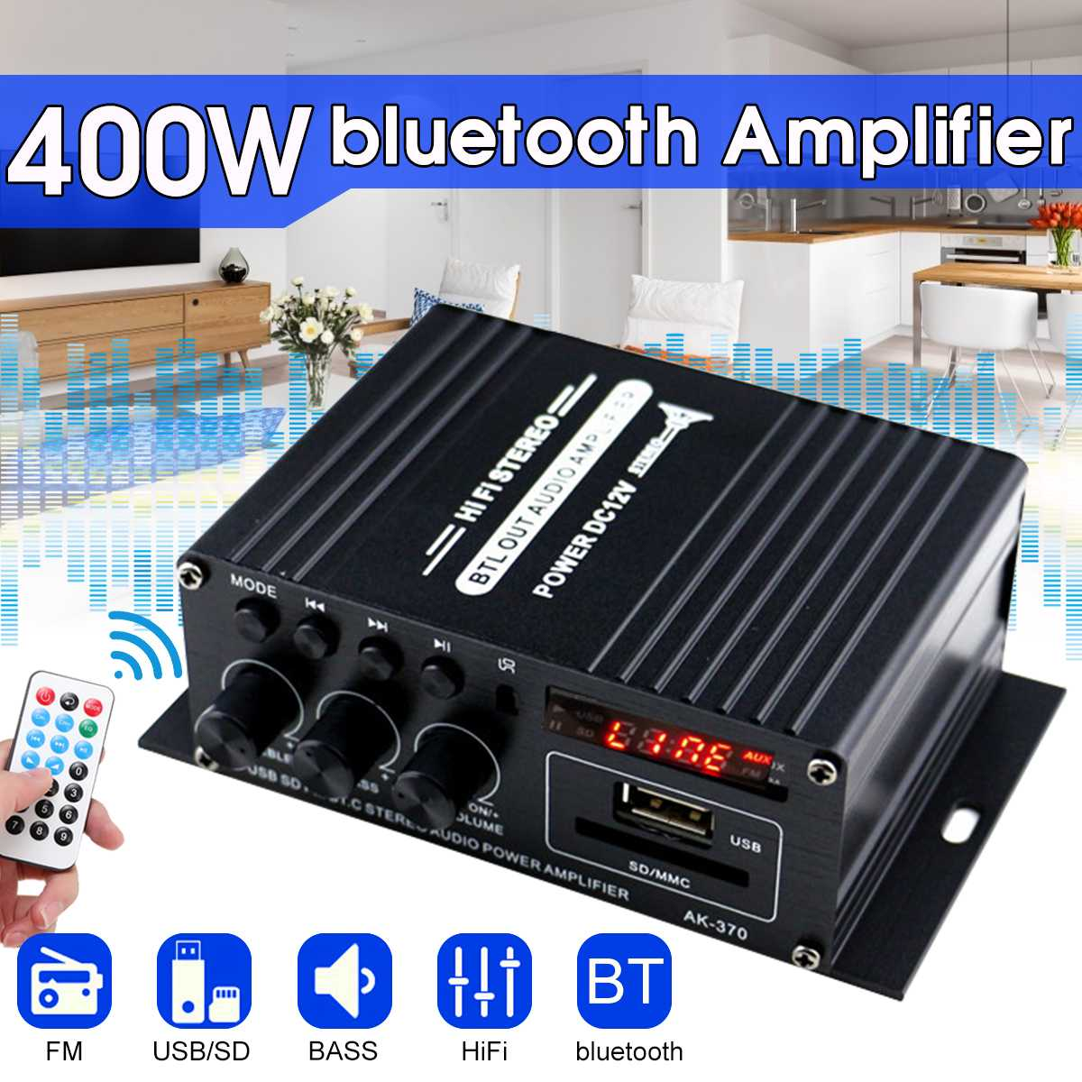 400W 2*200W Stereo Hifi Car Home Subwoofer Car Audio Car Amplifier Amp Sound Speaker Bluetooth EDR Audio LED Design Amplifiers
