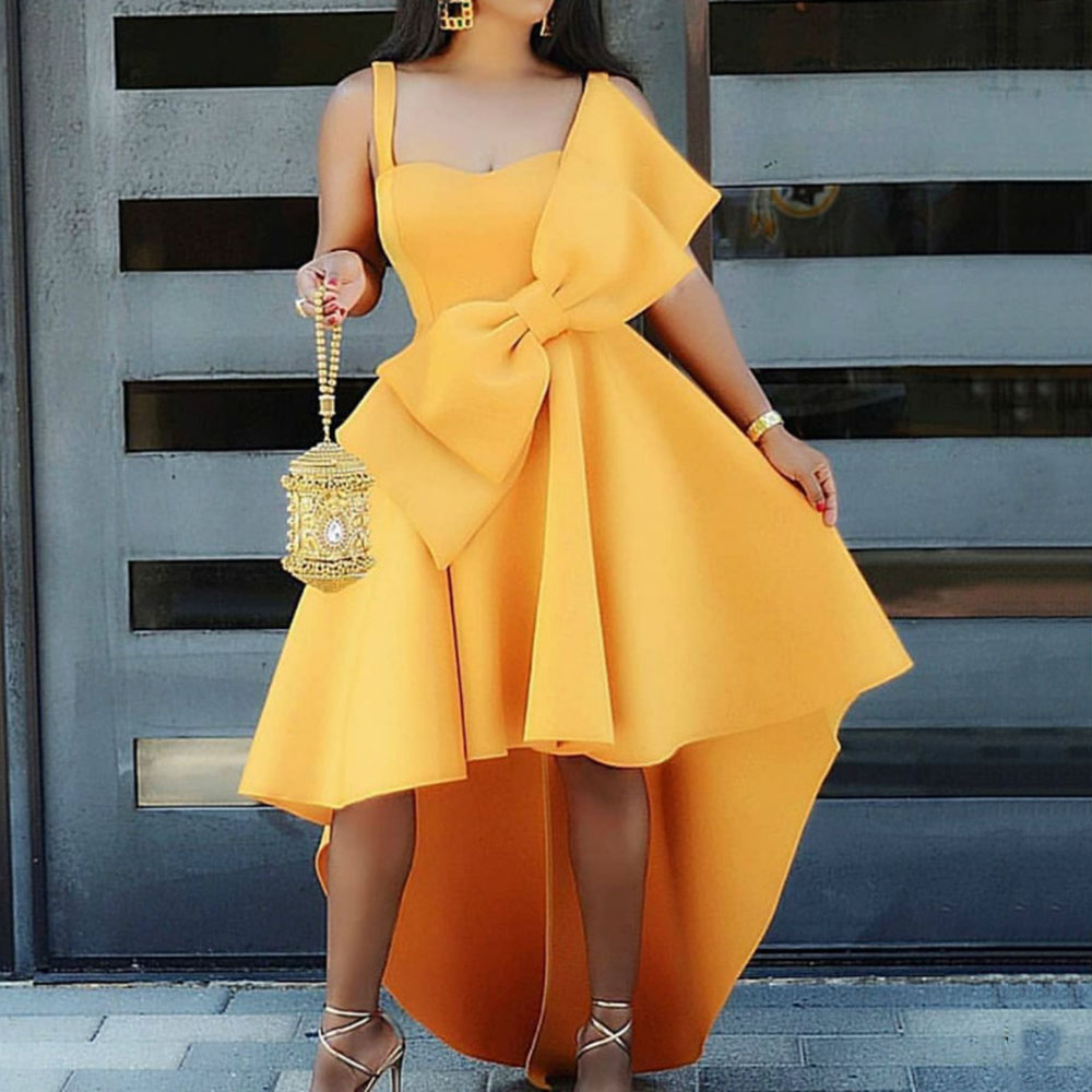 Bowknot Cocktail Dresses Spaghetti Strap Asymmetric High Low Long Party Dress African Cute Tunic Sexy Dress Irregular 2020