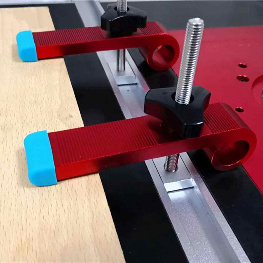 T 型スライドスロットトラックストッパーアルミ合金クランプ木工 M8 ネジポジショニングリミッタマイタークリップ固定クランプツール