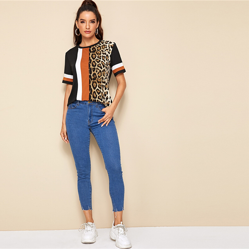 Block Cut-and-Sew Leopard Panel Top Short Sleeve O-Neck Casual T Shirt 70