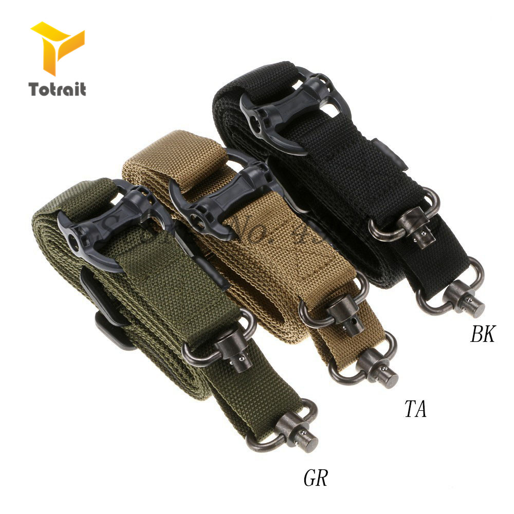 MS4 Tactical Rope Mission Adjustable Two 2 Points Tactical Rifle Gun Sling Quick Detach QD Trap For Outdoor Nylon Belt Rope
