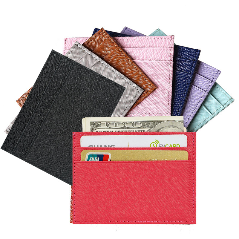 RFID Cow Leather Sweet Fashion Candy Color Business Card Holder  Women's Safiano Cross Pattern Pickup Package Bus Id Card Case
