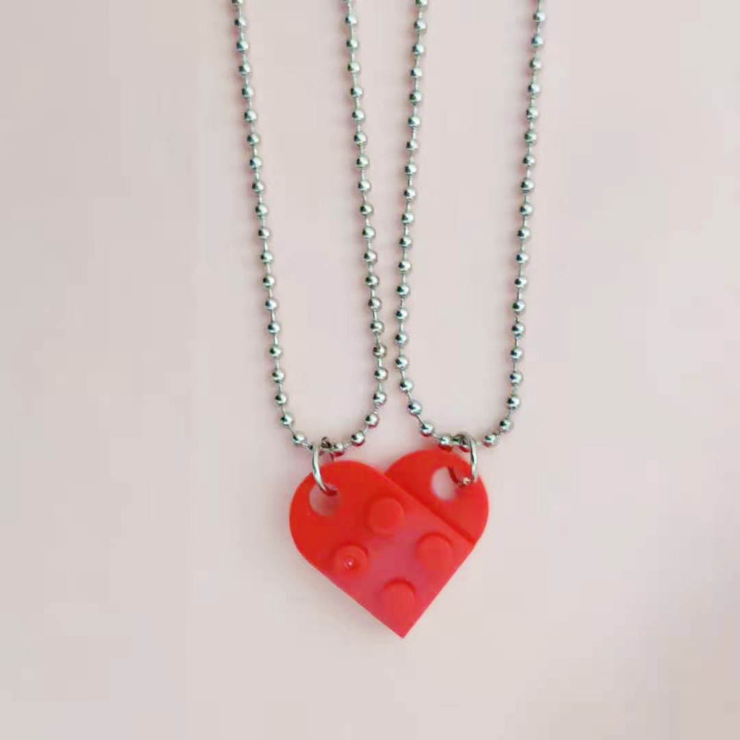 2 pièces collier de perles construction brique coeur collier pour femmes hommes Lego éléments Couple saint valentin cadeaux Punk petite amie colliers
