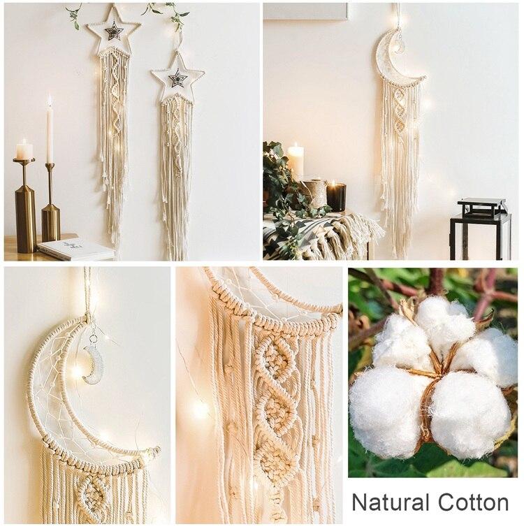 QIFU Moon Star Cotton Hand-Woven Tapestry Eid Mubarak Party Decor Ramadan Kareem Decor Islamic Muslim Party Supplies Eid Al Adha