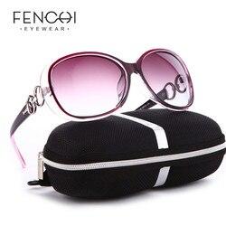 Fenchi óculos de sol feminino polarizado, óculos de sol branco com lentes polarizadas, preto, para noite