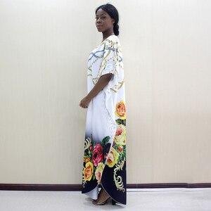 Image 4 - 2019 nowości Fashion Design Dashikiage kwiaty i biżuteria wzór wydruku czarny krótki rękaw Plus rozmiar sukienki dla kobiet