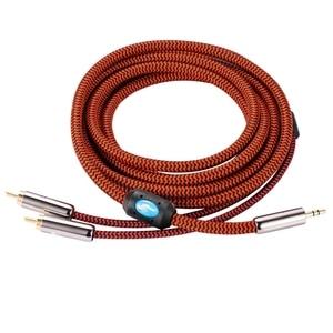 """Image 3 - Hifi акустический кабель 1/8 """"мини джек 3,5 мм до Dual RCA автомобилей AUX PC усилитель наушников 3,5 до 2 RCA аудио кабель 1 м 2 м 3 м 5 м 10 м"""