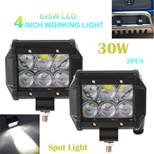 New 1 Pair 4 Inch OSRAM 30W 2550LM Car LED Work 4WD ATV Off-road SUV Driving Spotlight Bar Lamp