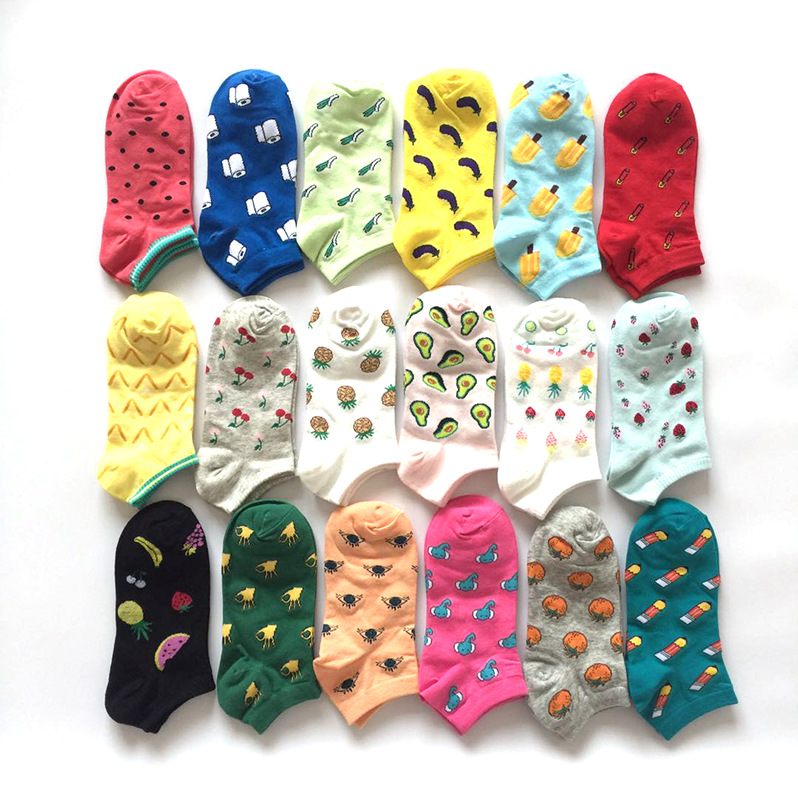 Cartoon Creative Boat Socks Cotton Socks Summer Korean Fruits And Vegetable Boat Socks Colorful Socks Pineapple Eggplant Pencil