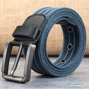 2019 Fashion Belt For Man Canvas Belt Striped Design Casual Men's Belts With Iron Buckle Tactical Belt For Jeans 110cm-140cm