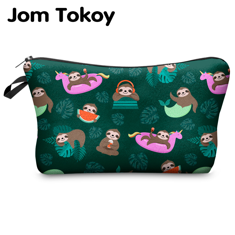 Jomtokoy Women Cosmetic Bag Sloth Pattern Digital Printing Toiletry Bag For Travel Organizer Makeup Bag Hzb1009