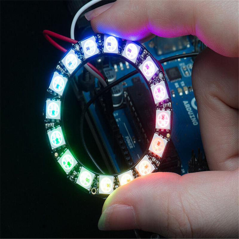16 Bits RGB LED Ring - 16 X WS2812 5050 RGB LED With Integrated Drivers LED Breakout Arduino Compatible