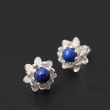 925 Sterling Silver Earrings Lapis Lazuli Pearl Lotus Flowers Stud For Women Elegant Temperament Ear Jewelry