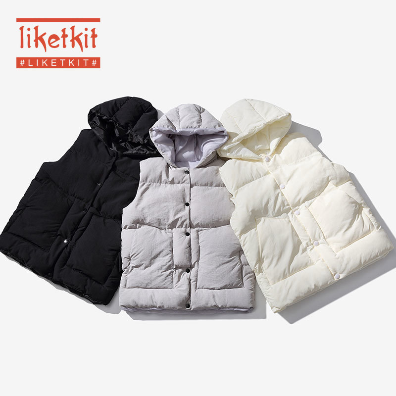 Liketkit Winter Vest Men Sleeveless Vest Jackets 2019 Male Thick Warm Hooded Overcoat New Solid Color Loose Casual Waistcoat Men