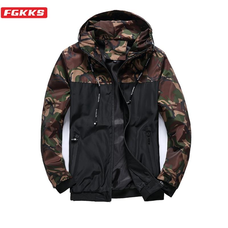 FGKKS мужские камуфляжные тонкие куртки, пальто, летняя мужская модная спортивная куртка на молнии с капюшоном, мужские повседневные куртки с ...