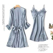 2019 Women Pajamas Sets Robe Sling Vest 2 piece suit Satin Sleepwear Spaghetti Strap Lace Silk Sleepounge Nightwear Pyjama(China)
