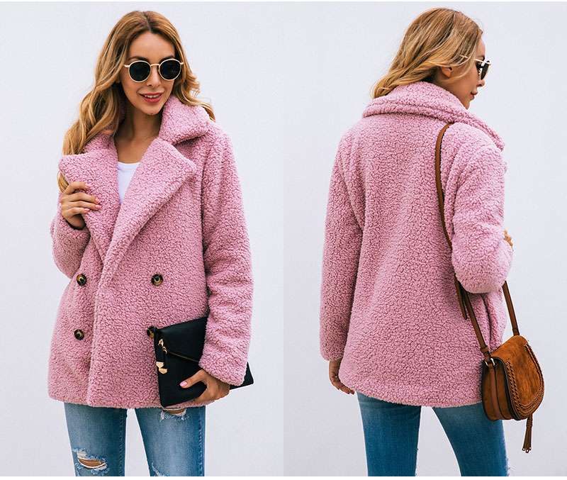 H12e91d576939455ba534f2fd8203628bk Lossky Women Long Sleeve Autumn Winter Thick Warm Jacket Coats Plus Size Loose Button Pocket Pink Lady Plush Flannel Overcoat