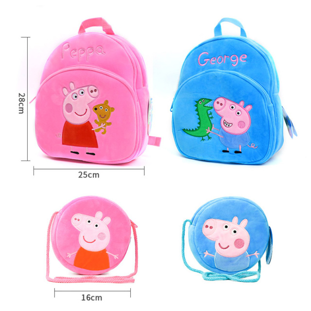 Original Peppa Backpack Purse Plush Toys Toy Gift for Girls