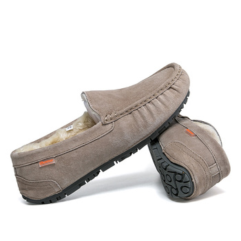 2020 Winter Warm Moccasins Short Plush Loafers for Men Casual Slip-on Flats Boat Shoes Comfort Pig Suede Driving Shoe