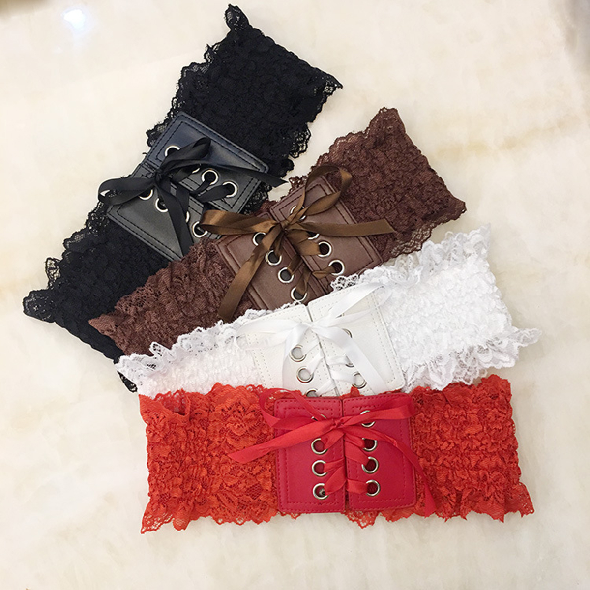 Jastie Boho Chic Lace Cummerbunds Fashion Women Corset Belt Casual Elastic Waistband With Button Wide Girdle Belt Femme 2019