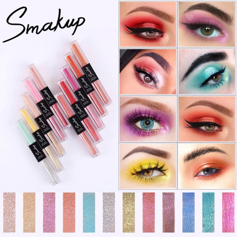 Portable 10 Colors Double-headed Metallic Shiny Smoky Eyes Eyeshadow Waterproof Glitter Liquid Eyeliner Makeup TSLM1
