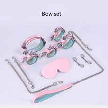 Leather Top Layer Macarons Color Accessories Adult Games Bdsm Bundled Handcuffs Set Sex Bondage Flirting Game Accessories