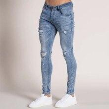 Moda Streetwear de los hombres Jeans azul Vintage Color gris Skinny destruido arrancó Jeans rotos pantalones Punk Homme hombres vaqueros # y2